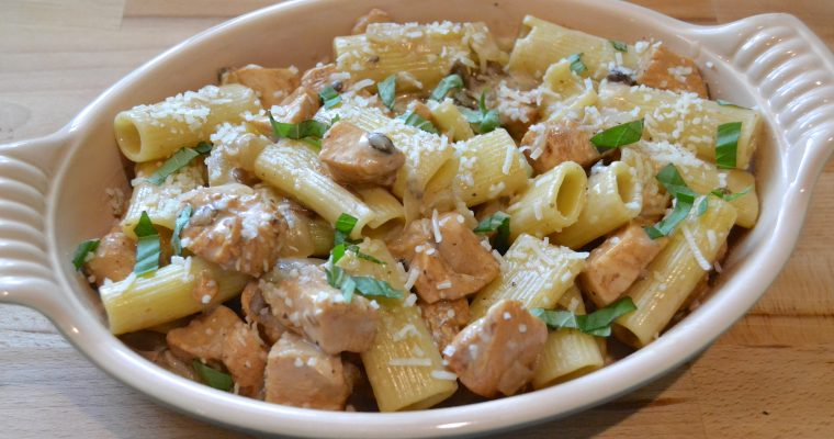 Rigatoni with White Wine and Marsala Chicken Cream Sauce